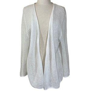 NomadicTraders white linen cotton crochet cardigan
